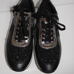 NWT Michael Kors Black Glitter Sneakers